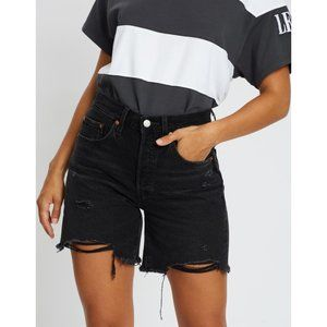 NEW Levi's 501 Black Mid Thigh Long Denim Shorts